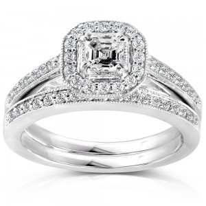 White Gold 5/8ct TDW Asscher Diamond Halo Bridal Ring Set - Custom Made By Yaffie™