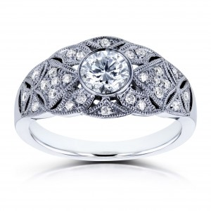 White Gold 5/8ct TDW Diamond Vintage Engagement Ring - Custom Made By Yaffie™