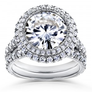 White Gold 6 1/3ct TGW Forever One Moissanite & Diamond Unique Double Halo Statement Bridal Set - Custom Made By Yaffie™