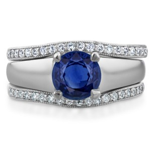 White Gold 6.5 MM Sapphire and 1/3ct TDW Double Diamond Wedding Bands Bridal - Custom Made By Yaffie™
