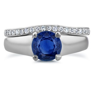 White Gold 6.5 MM Sapphire and 1/6ct TDW Diamond Wedding Band Bridal Set - Custom Made By Yaffie™