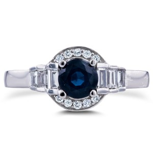 White Gold 7/8ct TCW Sapphire and Diamond Symmetric Semi-Halo Ring - Custom Made By Yaffie™