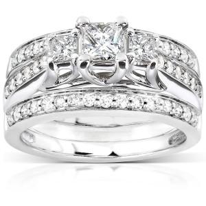 White Gold 7/8ct TDW Diamond 3-piece Bridal Ring Set - Custom Made By Yaffie™