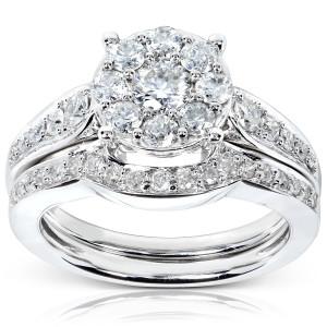 White Gold 7/8ct TDW Diamond Bridal Rings Set - Custom Made By Yaffie™