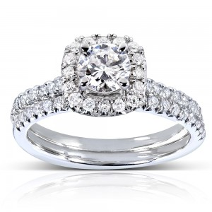 White Gold 7/8ct TDW Halo Round Diamond Bridal Set - Custom Made By Yaffie™