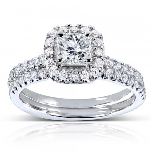 White Gold 7/8ct TDW Princess and Round-cut Halo Diamond Bridal Set - Custom Made By Yaffie™