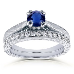 White Gold 7/8ct TGW Round Sapphire and Diamond Vintage Bridal Set - Custom Made By Yaffie™