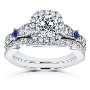 White Gold Blue Sapphire and 1 5/8ct TDW Diamond Halo Antique Two Piece Bridal Set - Custom Made By Yaffie™
