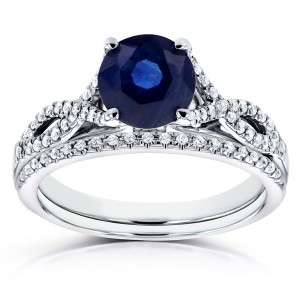 White Gold Blue Sapphire and 1/5ct TDW Diamond Crossover Bridal Set - Custom Made By Yaffie™