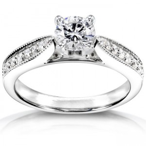White Gold Certified 3/4ct TDW Diamond Eco-Friendly Lab Grown Diamond Antique - Custom Made By Yaffie™
