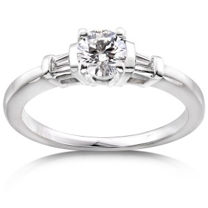 White Gold Certified 3/4ct TDW Round & Baguette 3-Stone Eco-Friendly Lab Grow - Custom Made By Yaffie™