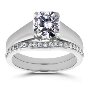 White Gold Cushion Cut Moissanite Solitaire and 1/6ct TDW Diamond Band Bridal - Custom Made By Yaffie™