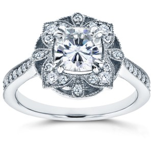 White Gold Cushion Forever One Moissanite and 1/4ct TDW Diamond Floral Antiqu - Custom Made By Yaffie™