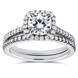 White Gold Cushion Moissanite and 1/2ct TDW Diamond Halo Cathedral Bridal Set - Custom Made By Yaffie™