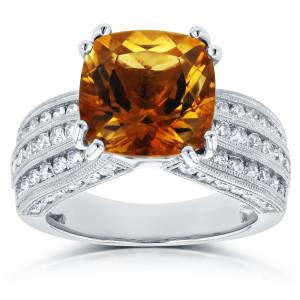 White Gold Cushion Orange Citrine and 1 1/5ct TDW Diamond Multi-Row Channel R - Custom Made By Yaffie™