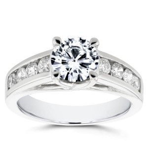 White Gold Forever One Moissanite and 1/2ct TDW Diamond Channel Band Engageme - Custom Made By Yaffie™