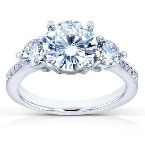 White Gold Forever One Moissanite and 3/5ct TDW Diamond Three Stone Engagemen - Custom Made By Yaffie™