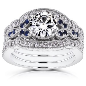 White Gold Moissanite Blue Sapphire and 1/2ct TDW Diamond Vintage Floral 3-Piece Bridal - Custom Made By Yaffie™