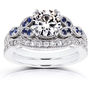 White Gold Moissanite Blue Sapphire and 1/4ct TDW Diamond Vintage Floral Bridal Set - Custom Made By Yaffie™