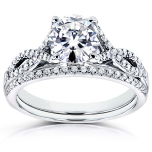 White Gold Moissanite and 1/5ct TDW Diamond Crossover Bridal Rings Set - Custom Made By Yaffie™