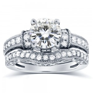 White Gold Moissanite and 3/5 ct TDW Antique Diamond Bridal Rings Set - Custom Made By Yaffie™