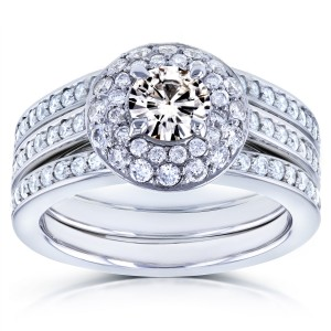 White Gold Moissanite and 4/5ct TDW Diamond Dome Double Halo 3-Ring Bridal Set - Custom Made By Yaffie™