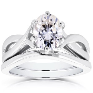 White Gold Oval 1 1/2ct Forever One DEF Moissanite Solitaire Bridal Set - Custom Made By Yaffie™