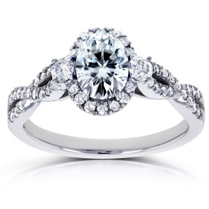 White Gold Oval Moissanite and 1/3ct TDW Diamond Halo Vintage Engagement Ring - Custom Made By Yaffie™