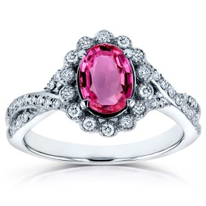 White Gold Oval Pink Sapphire and 1/4ct TDW Diamond Vintage Crossover Ring - Custom Made By Yaffie™