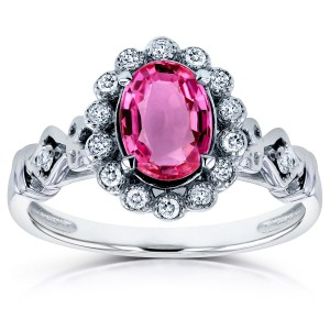 White Gold Oval Pink Sapphire and 1/8ct TDW Diamond Vintage Ring - Custom Made By Yaffie™