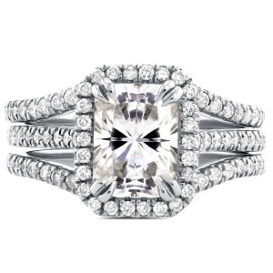 White Gold Radiant Cut Moissanite and 3/5ct TDW Halo Diamond 3-Piece Bridal R - Custom Made By Yaffie™