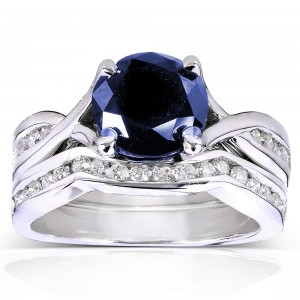 White Gold Round Blue Sapphire and 1/2ct TDW Diamond Bridal Rings Set - Custom Made By Yaffie™