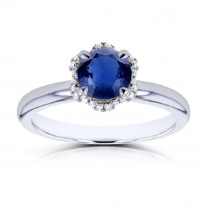 White Gold Round Blue Sapphire and Wavy Diamond Halo Floral Engagement Ring - Custom Made By Yaffie™
