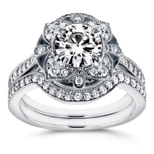 White Gold Round Moissanite and 1/2ct TDW Diamond 2-Piece Floral Antique Brid - Custom Made By Yaffie™