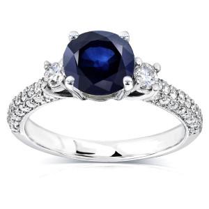 White Gold Round Sapphire and 1/2ct TDW Diamond Three Stone Ring - Custom Made By Yaffie™