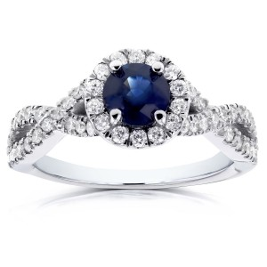 White Gold Round Sapphire and 1/2ct TDW Halo Diamond Criss Cross Ring - Custom Made By Yaffie™