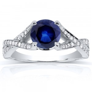 White Gold Round Sapphire and 1/4ct TDW Diamond Pave Crossover Ring - Custom Made By Yaffie™