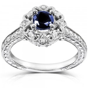 White Gold Round-cut Blue Sapphire and Diamond Vintage Engagement Ring - Custom Made By Yaffie™