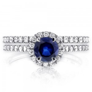 White Gold Round-cut Sapphire and 1/2ct TDW Diamond Halo Bridal Set - Custom Made By Yaffie™