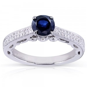 White Gold Round-cut Sapphire and 1/3ct TDW Diamond Engagement Ring - Custom Made By Yaffie™