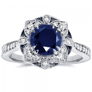 White Gold Round-cut Sapphire and 1/4ct TDW Diamond Floral Antique Ring - Custom Made By Yaffie™