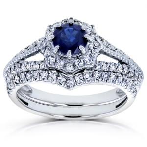 White Gold Sapphire and 1/2ct TDW Diamond Star Halo Bridal Set - Custom Made By Yaffie™