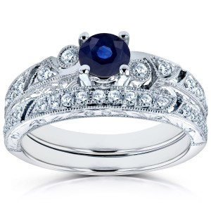 White Gold Sapphire and 1/3ct TDW Diamond Filigree Milgrain Bridal Set - Custom Made By Yaffie™