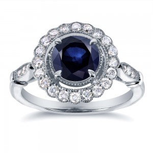 White Gold Sapphire and 1/3ct TDW Diamond Ring - Custom Made By Yaffie™