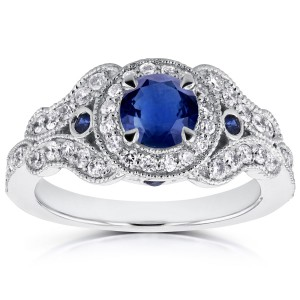 White Gold Sapphire and 2/5ct TDW Diamond Antique Milgrain Ring - Custom Made By Yaffie™