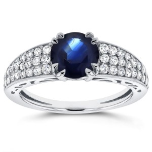 White Gold Sapphire and 2/5ct TDW Diamond Soft-Edged Ring - Custom Made By Yaffie™
