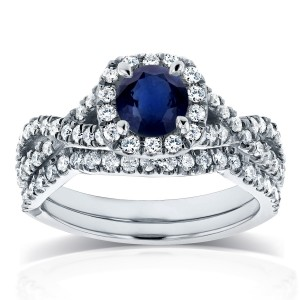 White Gold Sapphire and 3/4ct TDW Diamond Crossover Halo Bridal Set - Custom Made By Yaffie™