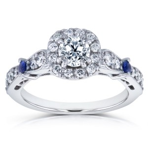 White Gold Sapphire and 7/8ct TDW Diamond Antique Ring - Custom Made By Yaffie™