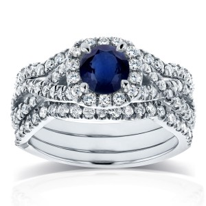 White Gold Sapphire and 7/8ct TDW Diamond Crossover Halo 3 Ring Bridal Set - Custom Made By Yaffie™
