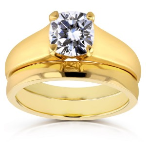 Gold 1 1/10ct Cushion Moissanite Classic Solitaire Bridal Set - Custom Made By Yaffie™